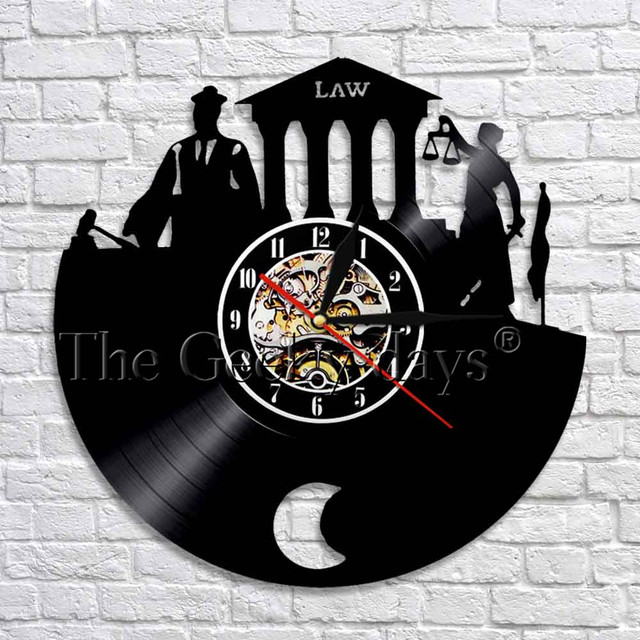1piece Law Firm Wall Art Decor Clock Scale Of Justice And Gavel Vinyl Record