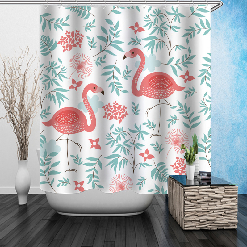 High Quality Flamingos Underwater world Scale Green leaves Polyester waterproof bathroom shower curtain Bath Curtain With Hooks