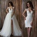2017 Destacável Train Backless Lace Vestido de Noiva Curto Sexy Spaghetti Vestidos de Casamento Vestidos de Noiva Beading Vestido De Noiva