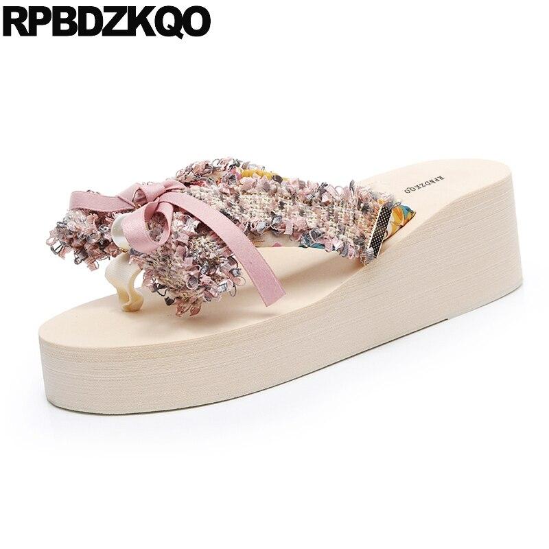 2dc43615921 Flatforms Bow Knot Wide Fit Shoes Ladies Platform Designer Wedge Women  Beach Low Flip Flop Slides 5 Pearl Slippers Cute Sandals