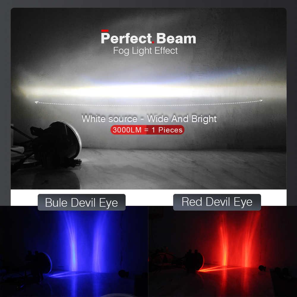 Cawanerl Aksesoris Mobil 4000LM LED Lampu Kabut Lampu + Devil Eye Siang Hari Berjalan Lampu DRL H11 12V untuk Ford fiesta 2001-2015