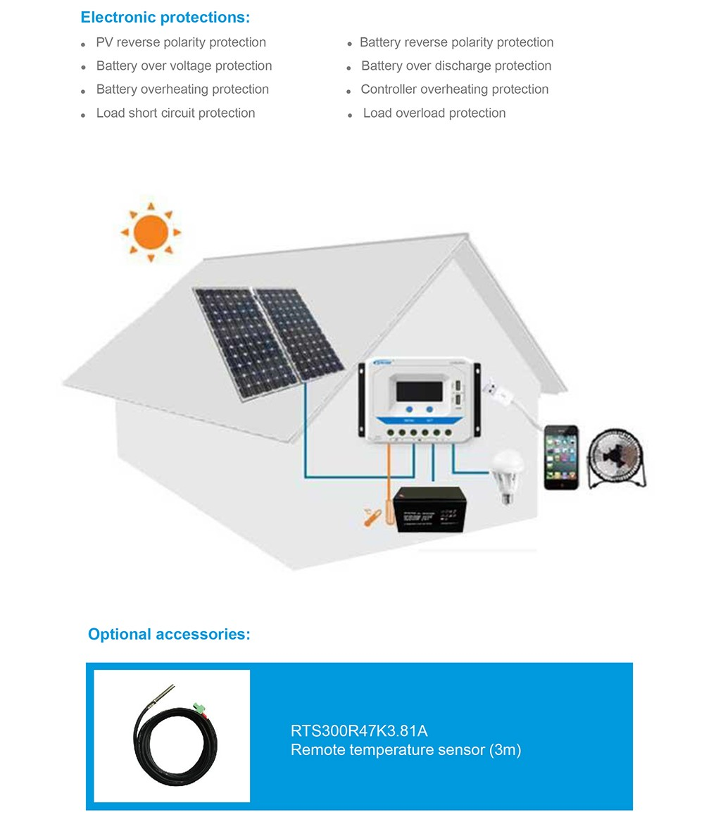 Pwm epsolar carregador de bateria solar regulador