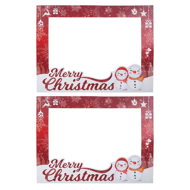 2pcs Christmas Picture Frames Props Selfie Photo Shoot Frames Xmas