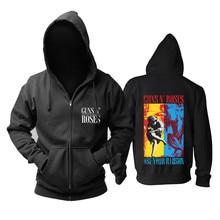 19 แบบ Guns N Roses GNR Cotton Rock Hoodie ฤดูหนาวแจ็คเก็ตแบรนด์ Zipper punk heavy โลหะ Sudadera Skull