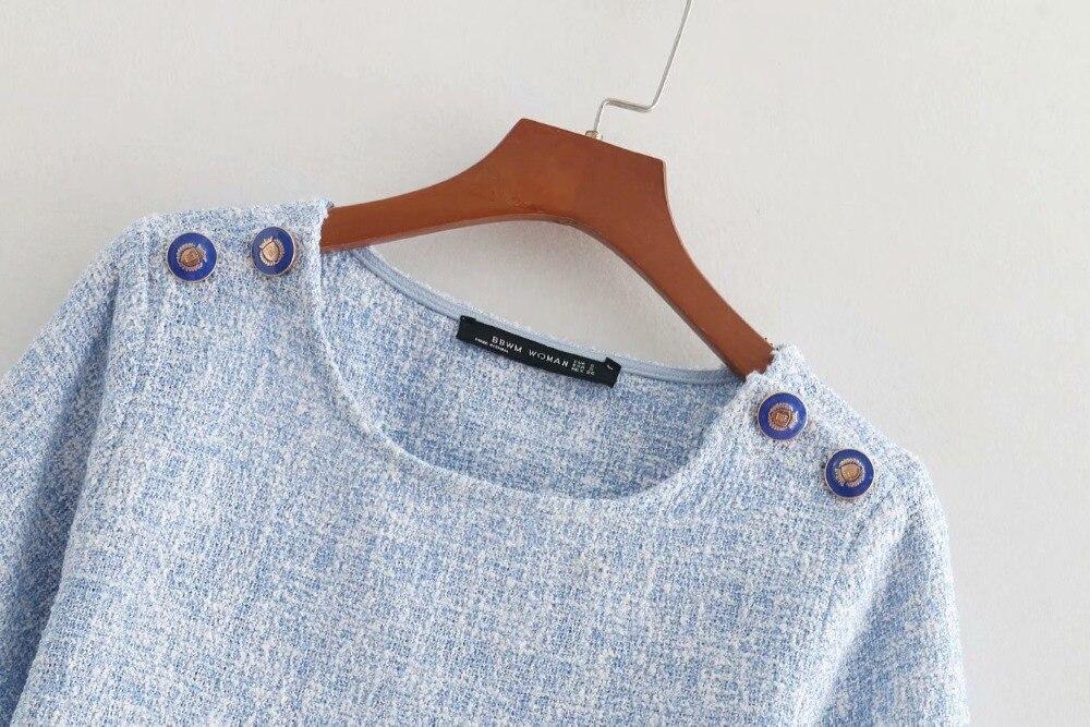 Camisa Corta Otoño Señora B8361 Lana Casual Bella Suave Filosofía Vintage Sólido Oficina Hombro Blusa Color Blusas Botón Manga Delgado qfAIPpAw