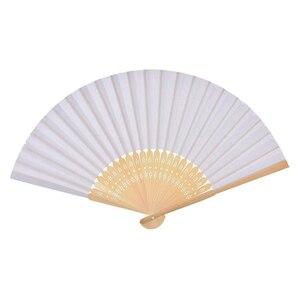Image 4 - Abanico plegable de bambú para bodas, abanicos chinos plegables, 50 Uds., Color blanco