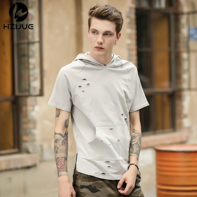 a761a6c43e61 HZIJUE New 2018 summer T Shirt Men Hip Hop Ripped Hole T-shirts Short  Sleeve Tops Tees Loose Streetwear Brand Men Clothes