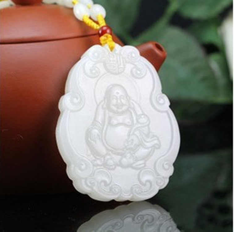 Hetian Baiyu Kunlun Jades Yangzhi Jades Guanyin Jades พระพุทธรูปจี้ Maitreya พระพุทธรูปสร้อยคอจี้
