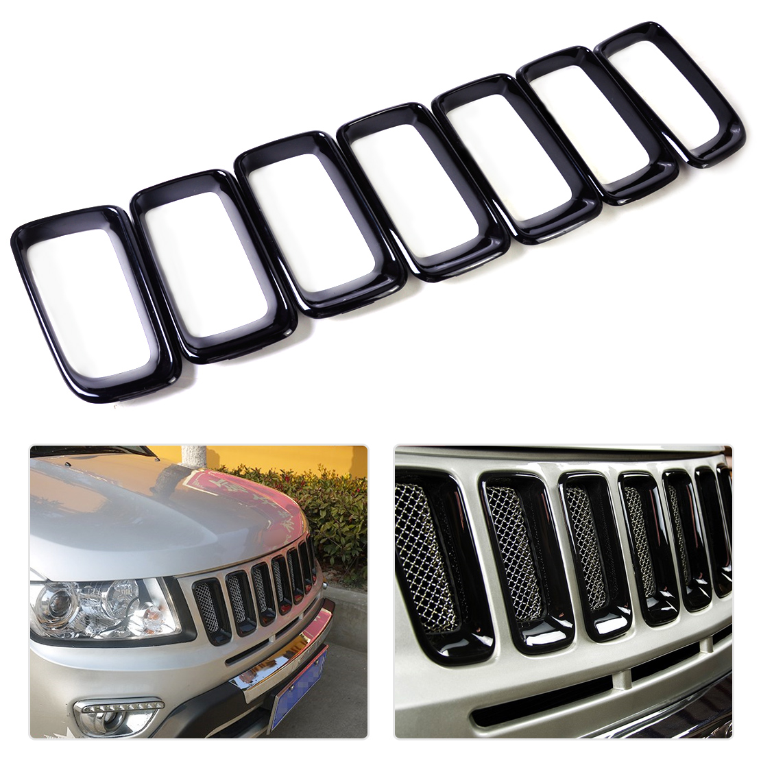 beler 7pcs Black Front Grille Vent Hole Insert Frame Cover Trim Billet Vertical for Jeep Compass 2011 2012 2013 2014 2015 2016