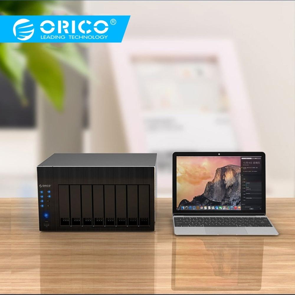 ORICO HDD Enclosure 2.5 3.5'' 8 Bay Network Attached Storage With RAID Docking Station Gen7 USB3.0 HDMI RJ45 Audio SSD HDD Case