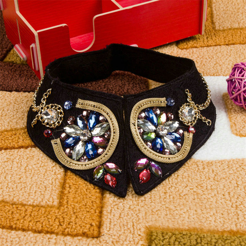 New Black Colorful Rhinestone Fashion Shirt Sweater Elegant False Collar Crystal Beading Detachable Choker Collars For Woman