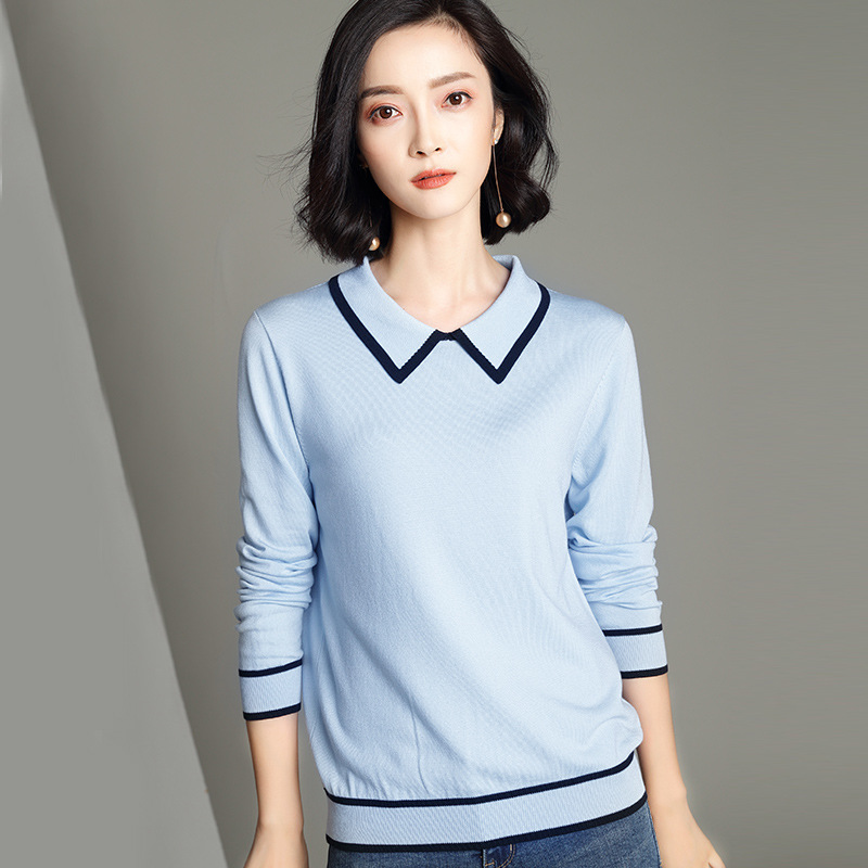 Lapel Sweater Women Fashion Color Block Long Sleeve