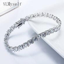 Женский браслет с фианитами элегантный белый 1 линией кристаллов