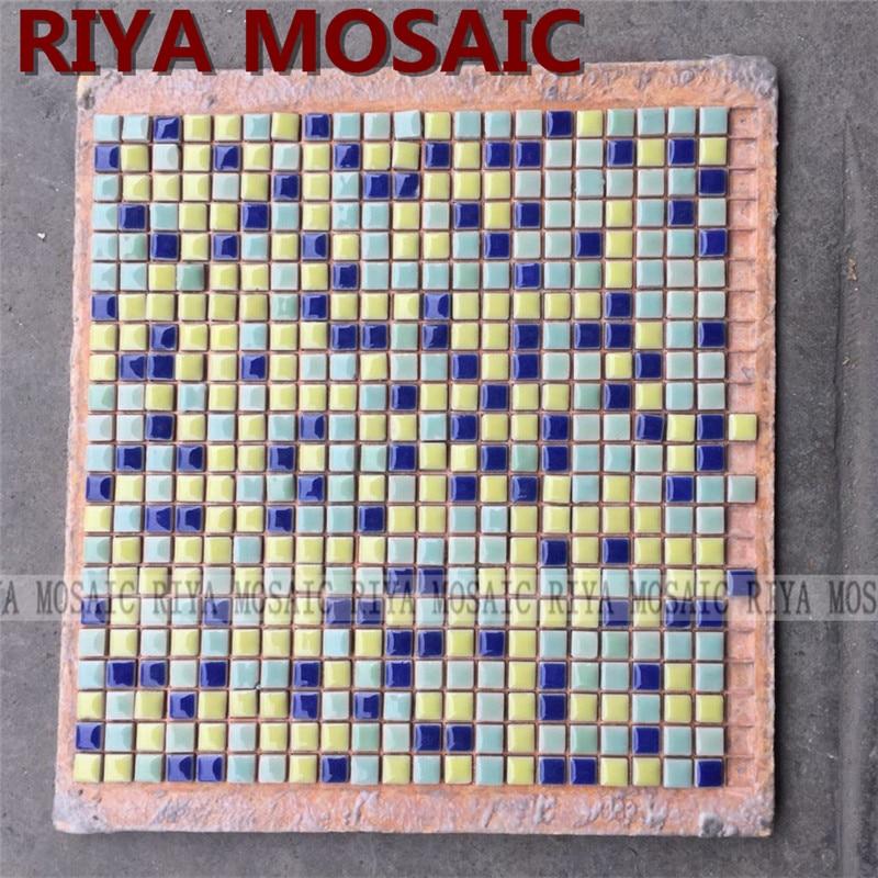 Free Shipping RIYA Blue yellow ceramic mosaic small grain background wall bathroom kitchen pool swimming 11pcs/lot