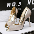 New Summer Women Sexy Sandal female heeled Pointed Open Toe Sequins Thin Heel High Heels Shoes OL Office Ladies Shoes G888-3
