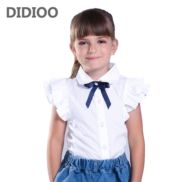 f7268fbc74a Summer Girl Shirt Short-sleeve Teenager Slim Waist Blouse for Girls Clothes Kids  White Clothing Bow New Brand Spring Infant Tops