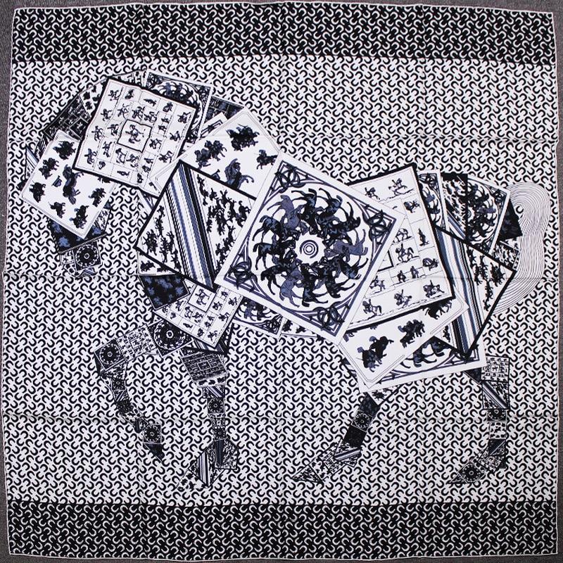 100 Silk Twill Scarf Women Luxury Brand Headscarf Shawl Scarves Hijab Wraps Foulard Poker Horse Pattern