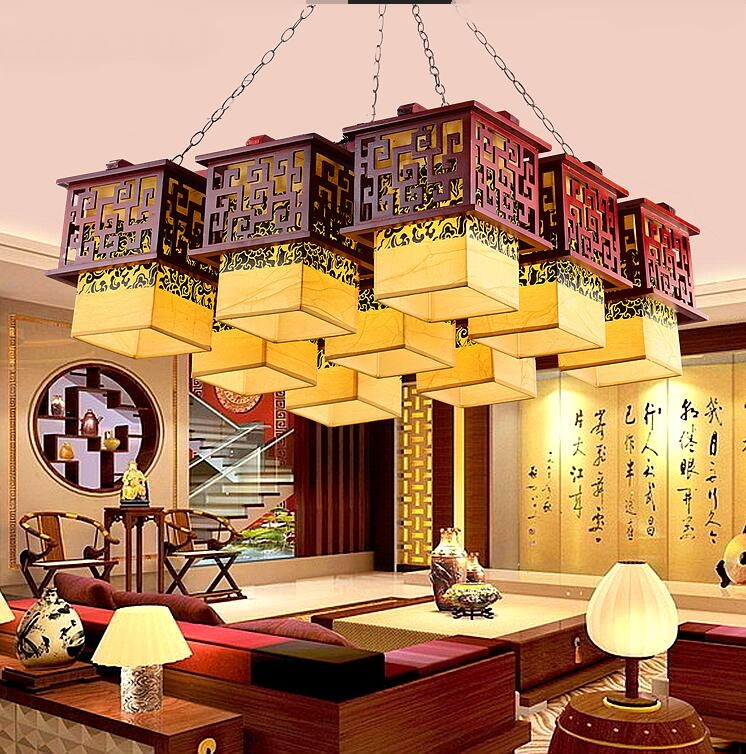 Chinese style Wooden Chinese style antique wood chandelier ceiling living room lamp rooms aisle lights classic sheepskin ZS33 chinese style antique wooden sheepskin chandelier lamp three classical teahouse atmosphere restaurant head send bless