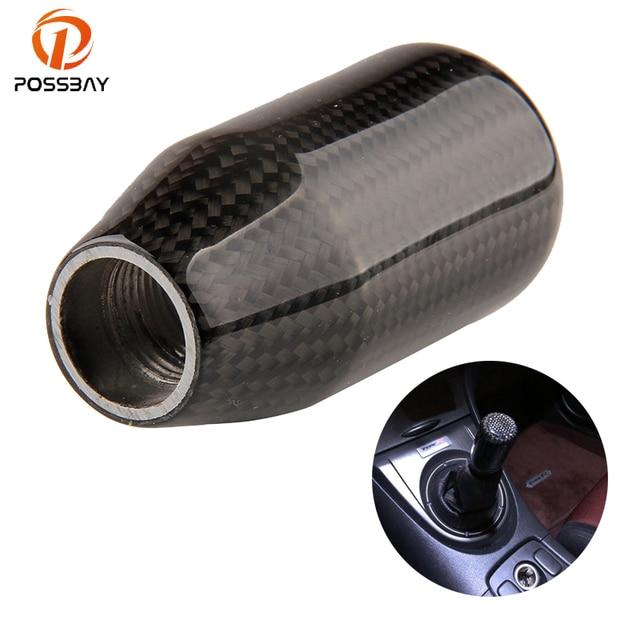 POSSBAY Black Carbon Fiber + Aluminum Car Gear Shift Knob Racing Car Universal Gear Handle Knob Fit Honda VW BMW Peugeot Covers