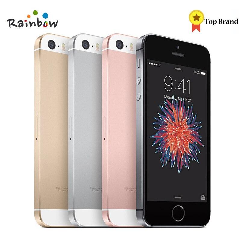 Apple iphone se original desbloqueado, smartphone dual-core, com reconhecimento por impressão digital, 4g, lte, lacrado, com 2 gb ram, 16/64 celular touch id de gb rom,