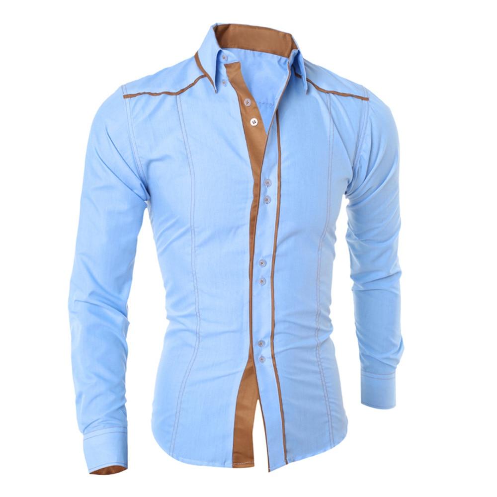 Frühling Herbst Funktion Shirt Männer Bussiness Shirt Mode Persönlichkeit Spleißen Langarm Casual Slim Fit Männliches Hemd Plus SizeXXL