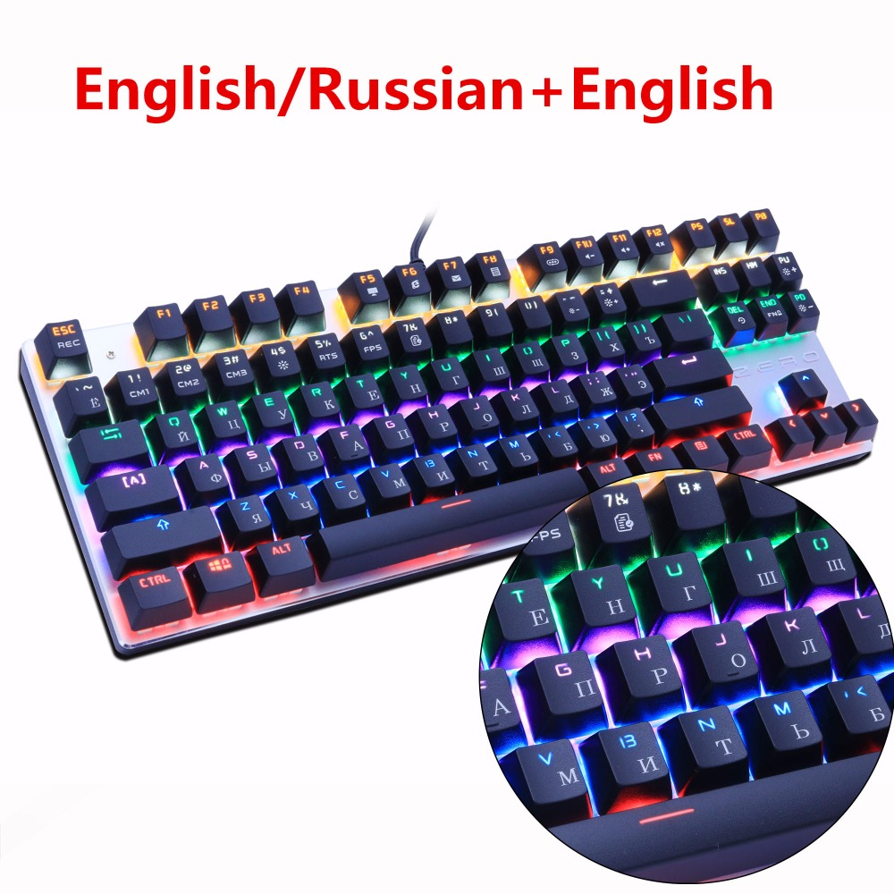 Metoo Russian + Engelsk Backlit Gaming Ægte Mekanisk Keyboard Anti-Spøgelse Lysende 87 LED Blå Switch Wired Keyboard