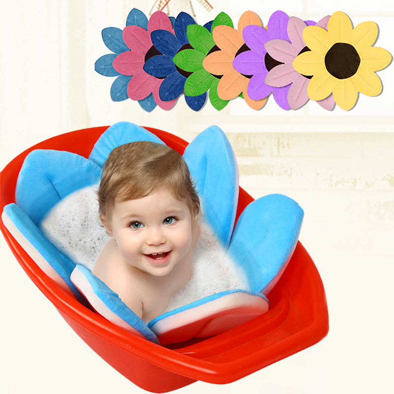 New Baby Bathtub Foldable Blooming Flower Shape Mat Soft Seat Infant Sink Shower Baby Flower Play Bath Sunflower Cushion mat