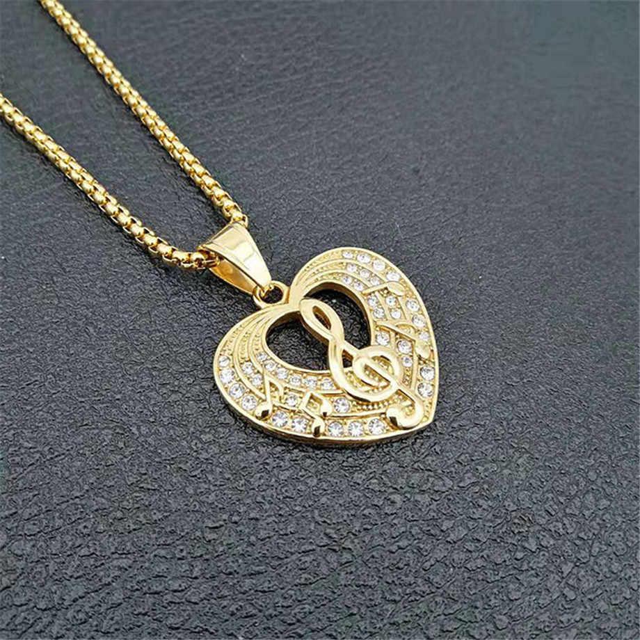 Женское и мужское ожерелье с музыкальной нотой и подвеской в виде сердца золотого цвета из нержавеющей стали, теннисная цепочка в стиле хип-хоп, ювелирные изделия для подарка