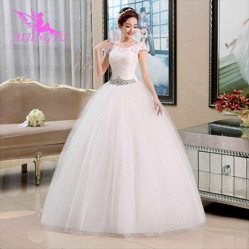 AIJINGYU 2018 yeni prenses ücretsiz kargo sıcak satış ucuz top elbisesi lace up geri örgün gelin elbiseler düğün elbisesi WU130