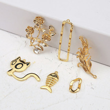 4pcs trendy japanese korean girl cute earring flowers cat fish bone earrings for women material diy ear jewelry accessories
