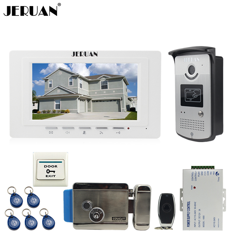 JERUAN new 7`` LCD  Video Door Phone System 700TVT Camera access Control System+Electronic lock+Remote control Unlock jeruan black 8 lcd video door phone system 700tvt camera access control system cathode lock remote control 8gb card