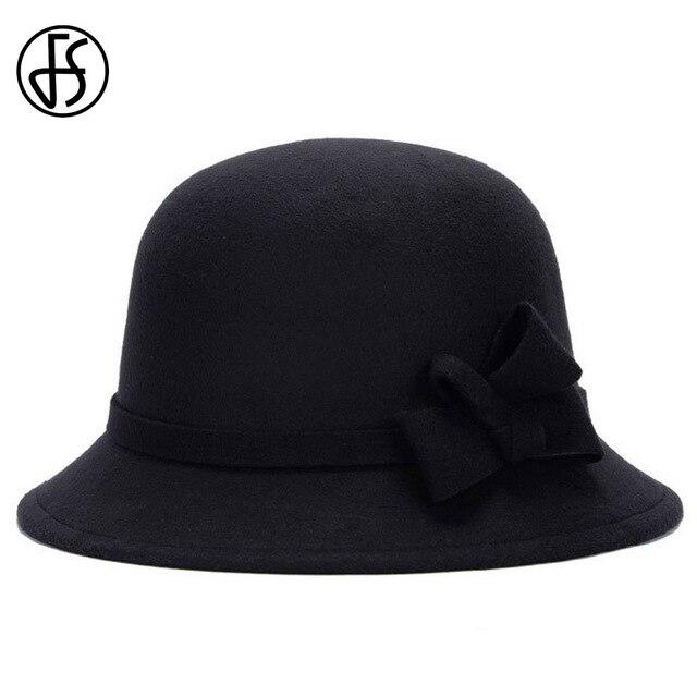 FS 6 Colors Winter Women Fedoras Black Hats Casual Round Cap Vintage Ladies  Chapeau Trendy Derby Bowler Top Fedora Hat 5c5b85d6e0e