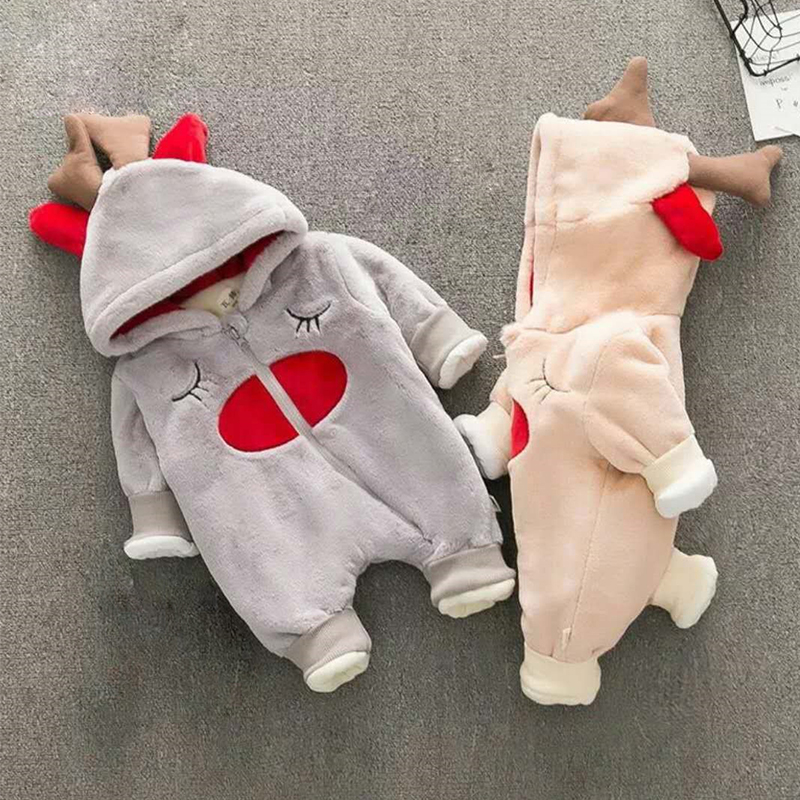 Unisex Baby Rompers Newborn Baby Clothes Boy Girls Winter Jumpsuit Hooded Toddler Outerwear Christmas Clothing Deer Costume