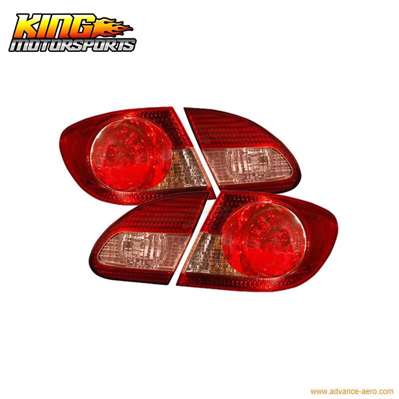 Для 03 08 Toyota Corolla светодиодные задние фонари Красный прозрачный 4 шт. США отечественные Бесплатная доставка