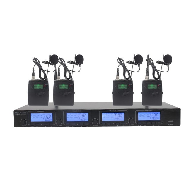 4 Pack Receivers + Wireless In Ear Monitor System, Professional Dual Channels Transmitter + lapel wireless microphone UHF 9000B