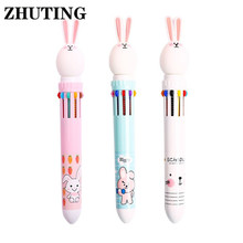 10 Color 0.5mm Cute Cartoon Rabbit Ballpoint Pen Press School Office Supplies Accessories Stationery Kids Gift