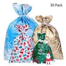 30 pçs sacos de presente de natal bonito cordão sortidas estilos goody sacos de embrulho de presente festa favores para o feriado de natal saco de doces