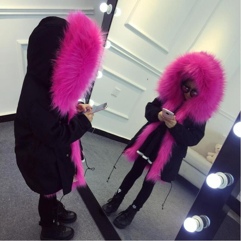JKP 2018 Family children's fur jacket flight suit to overcome boys and girls Imitation fur liner long Style Outerwear CT-46 2017 winter new clothes to overcome the coat of women in the long reed rabbit hair fur fur coat fox raccoon fur collar