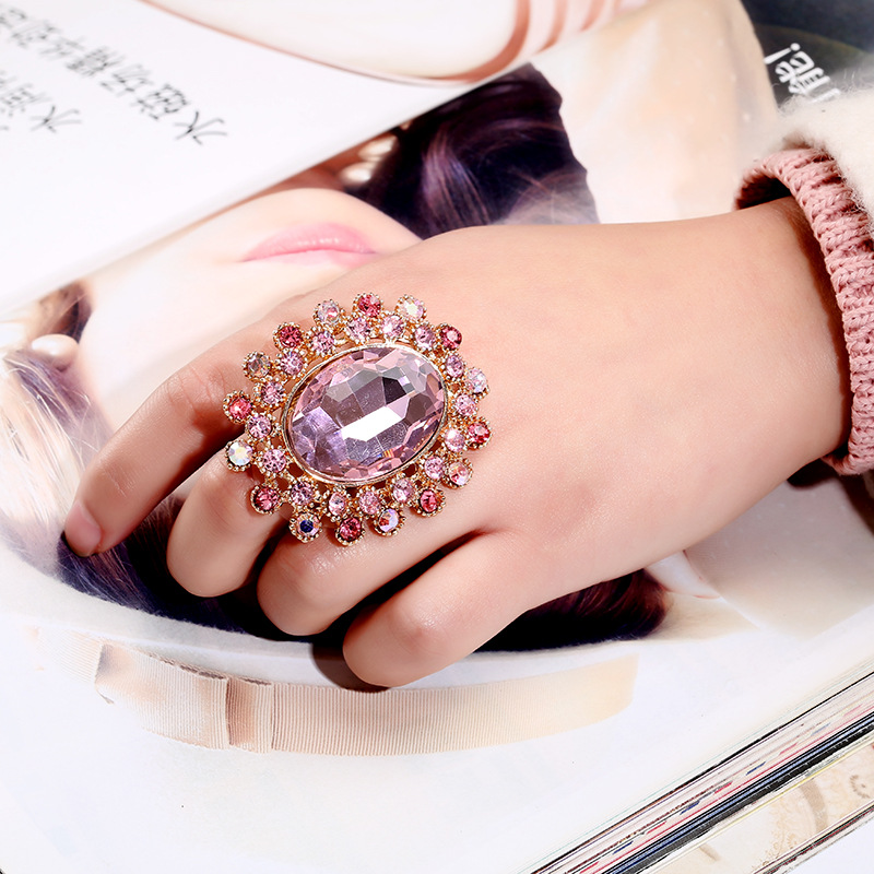 Chunky Gold-color Colorful Rhinestone Exaggerated Crystal Adjustable Wedding Rings for Women Statement Jewelry
