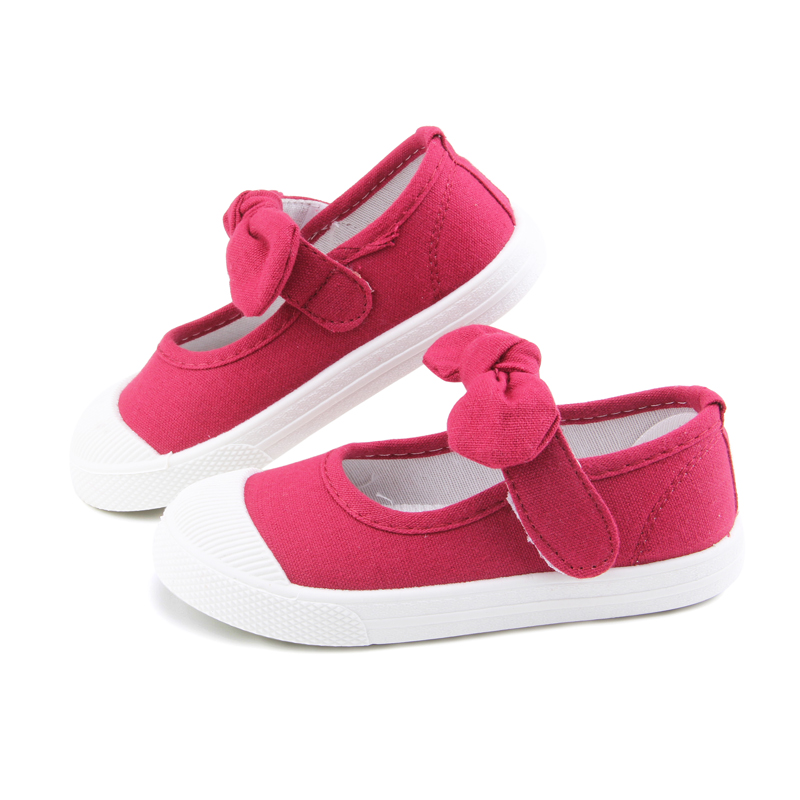 Baby Girl Shoes Canvas Casual Kids Shoes With Bowtie Bow-knot Solid Candy Color Girls Sneakers Children Soft Shoes 21-30 16