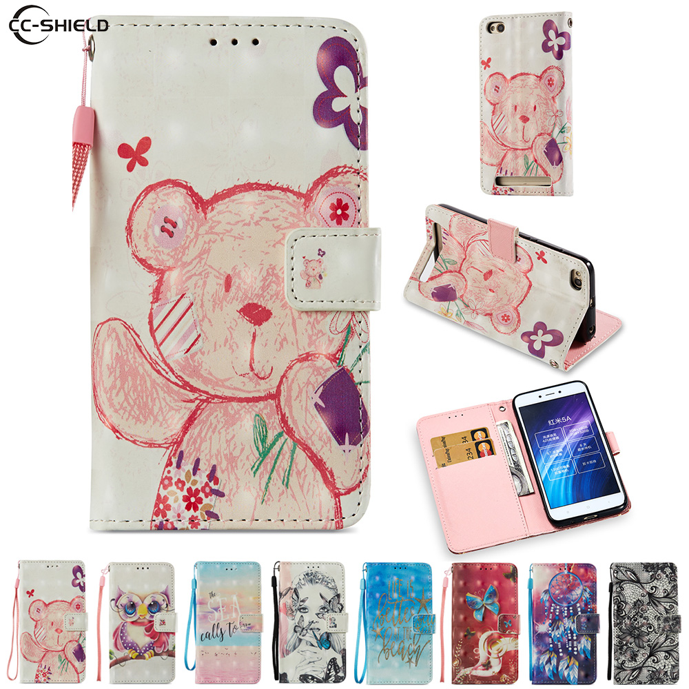 Cartoon Case for Xiaomi Redmi 5A 5 A Redmi5A Cute Bear owl Cartoon PU Leather Flip Stand ...