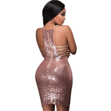 V Halter Split Sequin Dress PU27