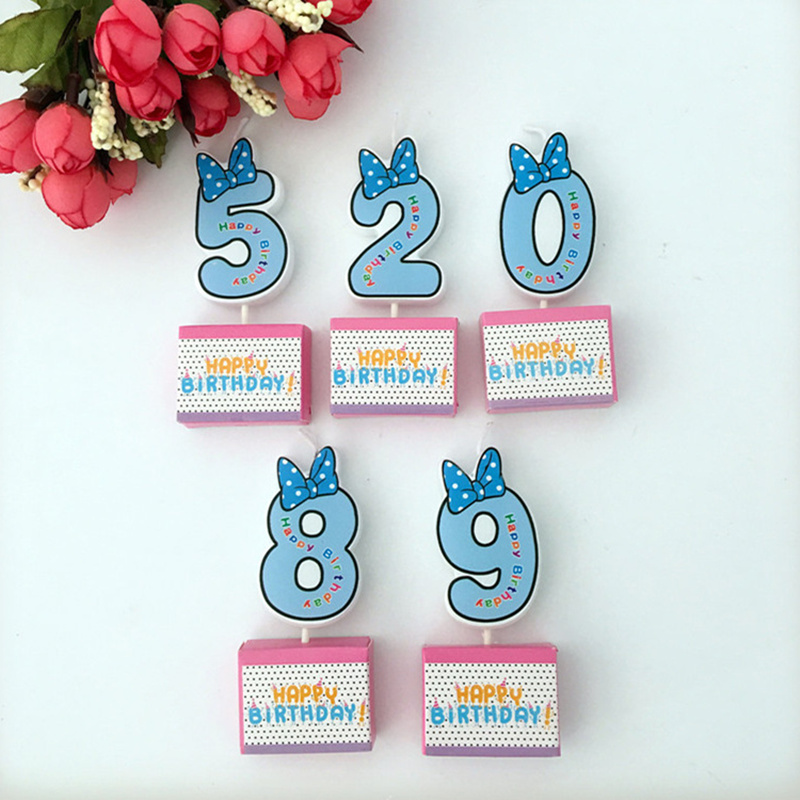 1pcs Birthday Number Candles Cartoon Mouse Happy Birthday Candle Cake Cupcake Topper Party Decoration Supply Bow Tie Cake Topper