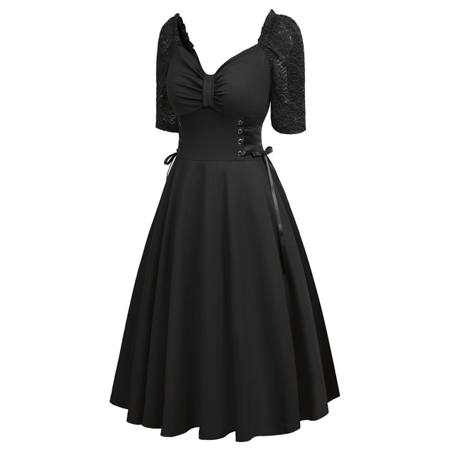 Women Summer Gothic Dresses Casual Clothing 2018 Lace-up Corset V-Neck Half Sleeve Retro Vintage Sexy Black Party Punk Dress 2
