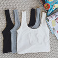 2017 Summer Style Tank Top For Ladies Casual Tops Woman Plain Round Neck Sleeveless Crop Black/white Crop Tops Vest Tube Top
