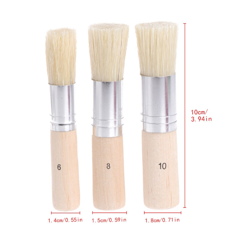 3Pcs/Set Wooden Stencil Brush Hog Bristle Brushes Acrylic Watercolor Oil Painting