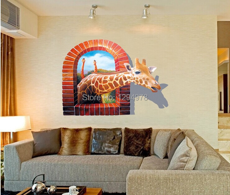 Free shipping new 70 100cm cartoon deer 3d wall stickers kids room decoration removable vinyl for Stickers para dormitorios