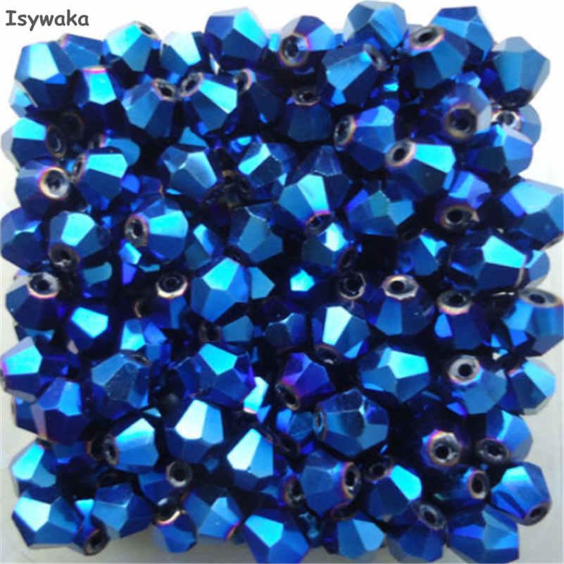 Isywaka распродажа Красный Медь Цвет 100 шт. 4 мм Bicone Австрия Кристалл бусины Шарм Стекло свободный разделитель Бисер бисера для DIY ювелирных изделий - Цвет: Shining Blue