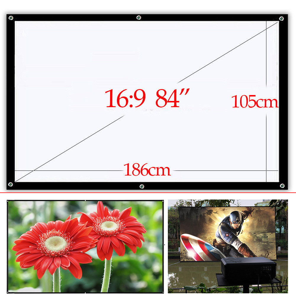 CAIWEI HD Indoor Outdoor Projection Screens 84 Foldable Screen fabric Home Cinema Portable Screen