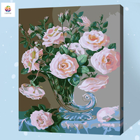 Frameless Digital Painting By Number Pink Rose Vase Flower Acrylic Paint Abstract Modern Wall Art Canvas